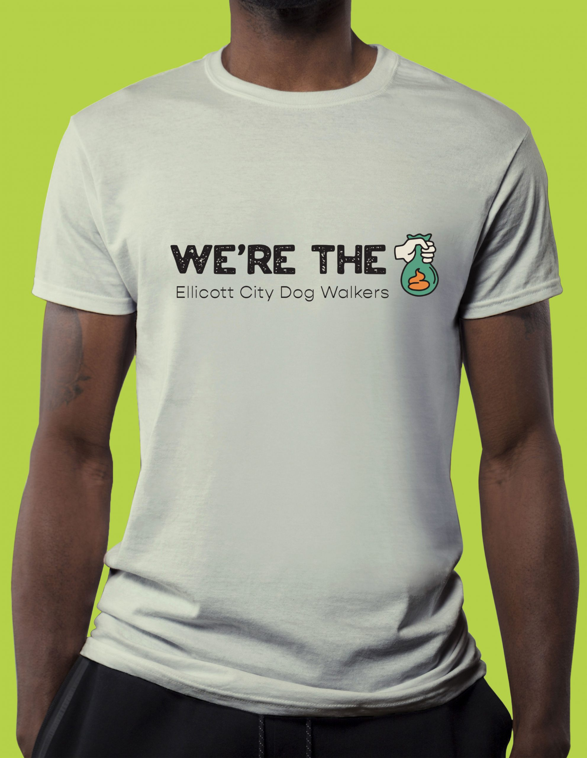 We're the Ellicott City Dog Walkers tee shirt