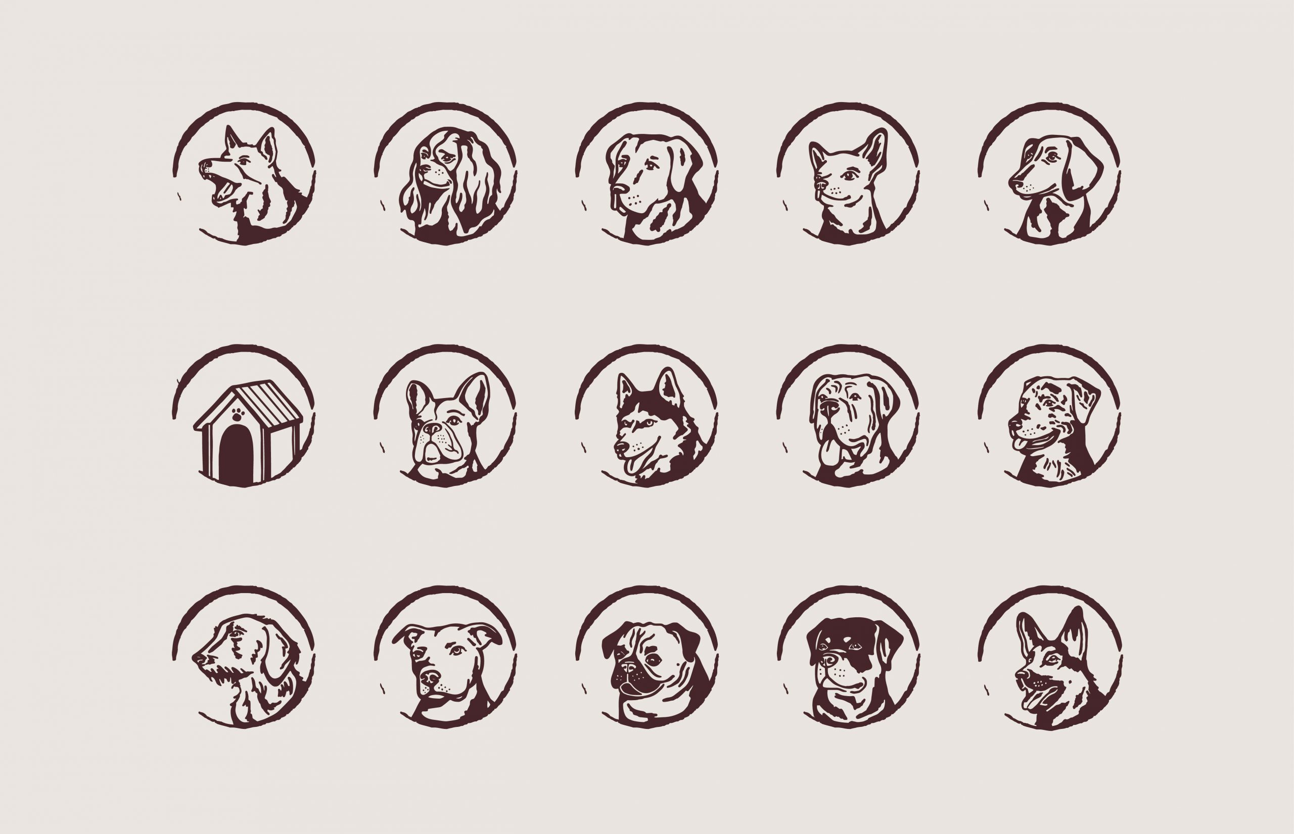 illustrations of different dog breeds