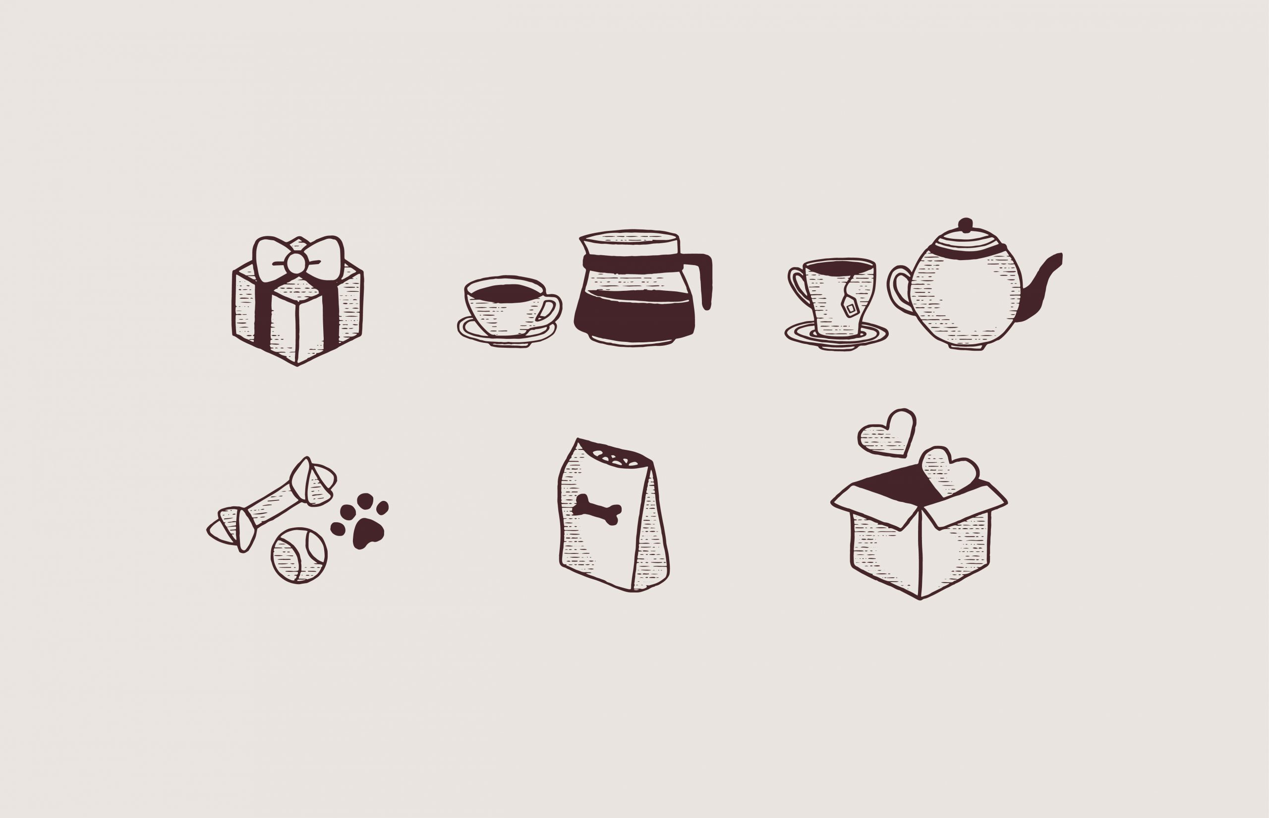 gift icon, coffee cup icon, tea cup icon, dog toys icon, dog food icon, box with heart icon