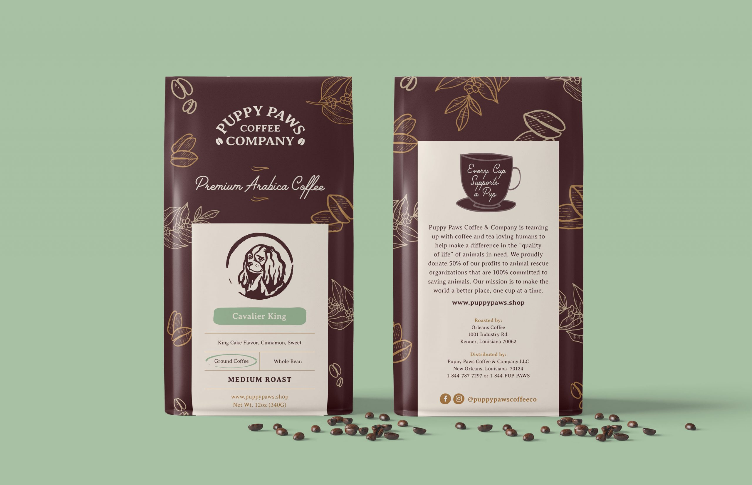 Puppy Paws Coffee Company brown coffee bags with labels