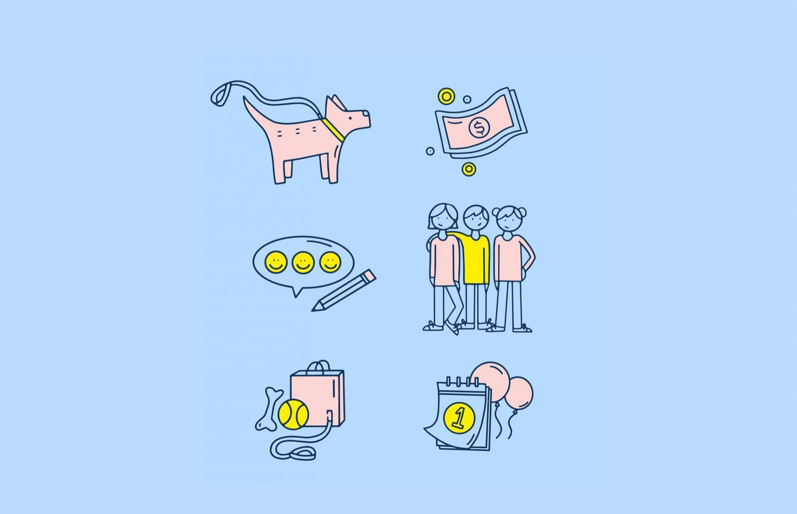 dog icon, money icon, speech bubble icon, friends icon, dog toys icon, calendar icon