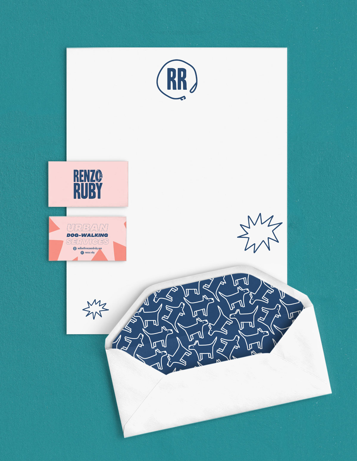 Renzo Ruby business card, envelope, stationary
