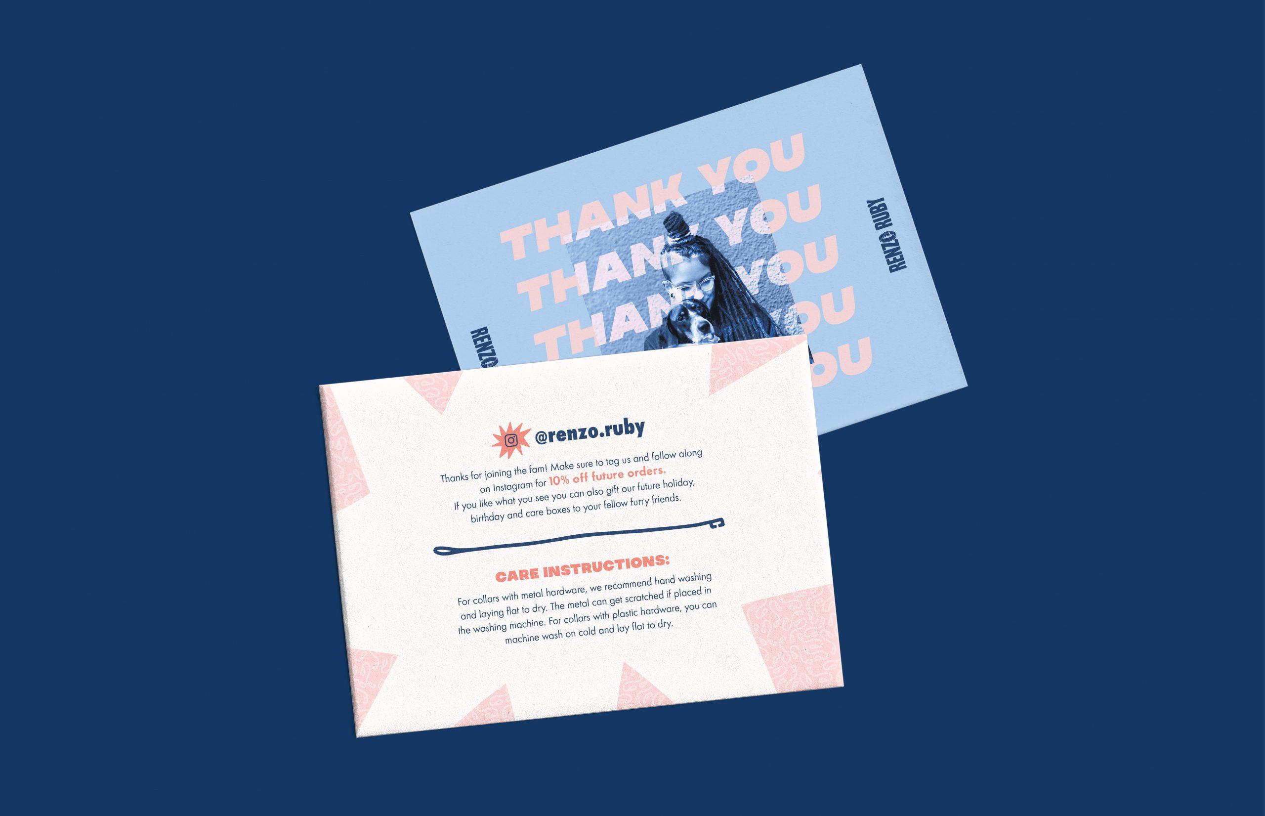 Renzo Ruby thank you card