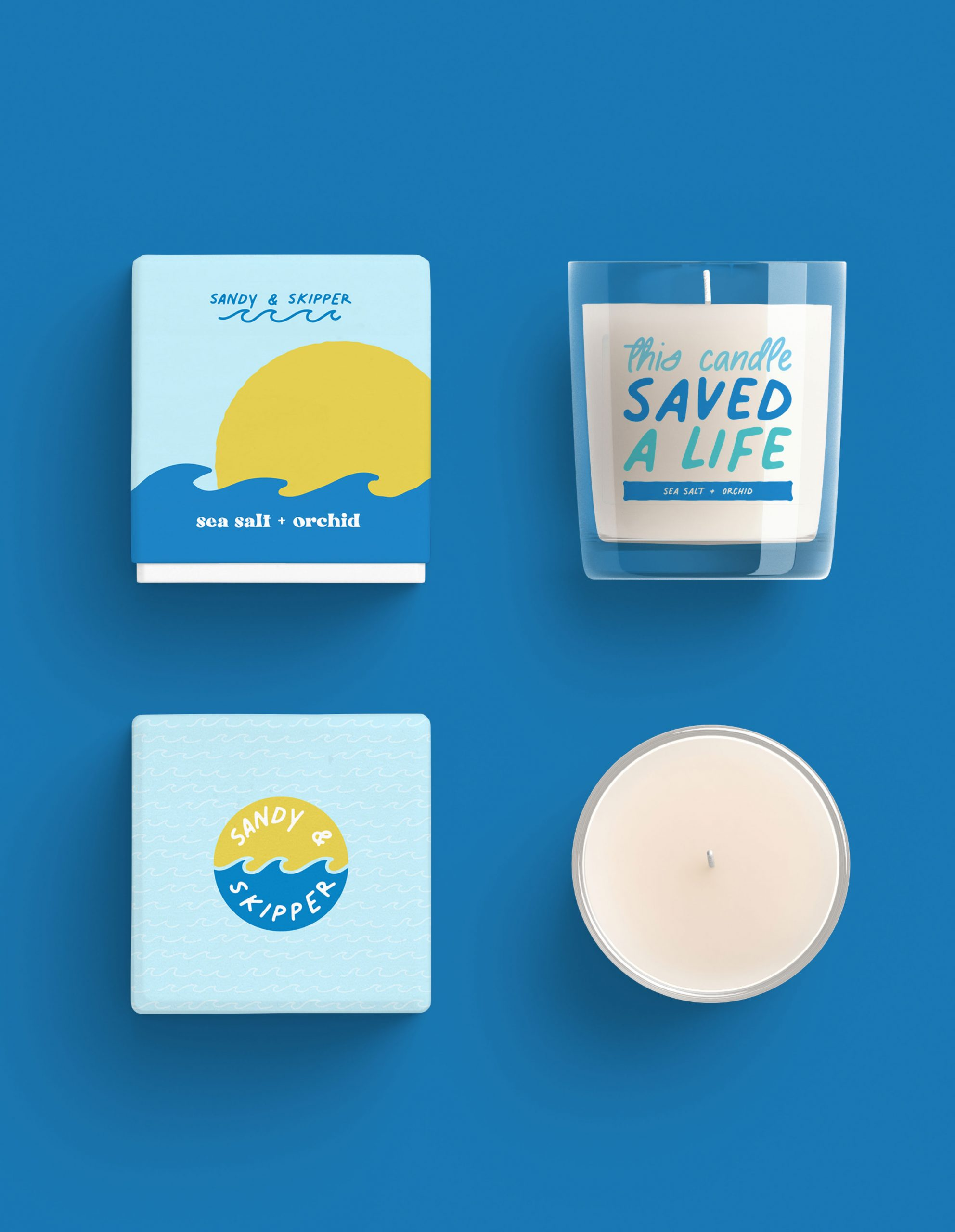 Sandy and Skipper sun and waves product packaging