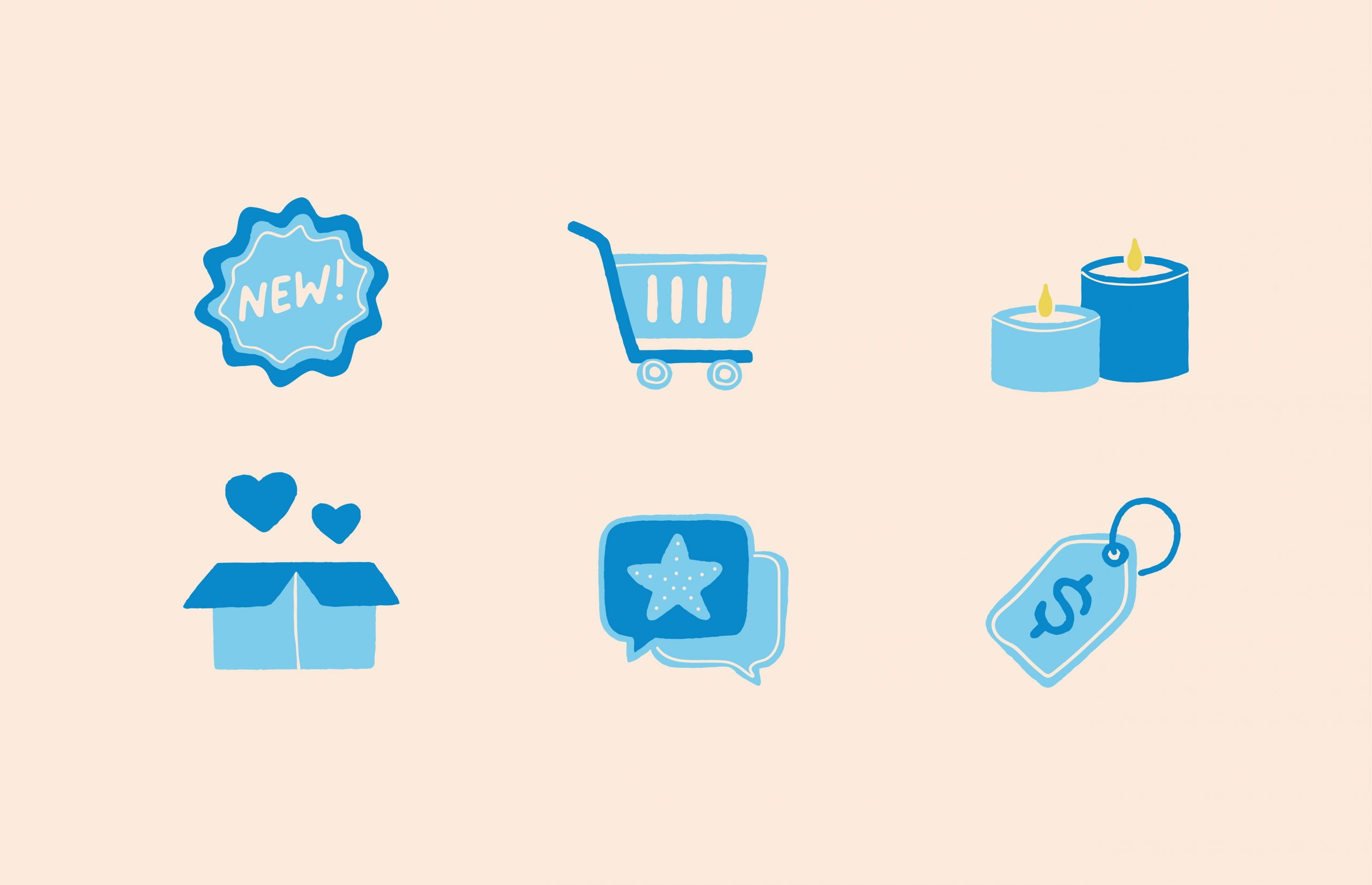 New badge icon, cart icon, candle icon, heart box icon, speech bubble icon, tag icon