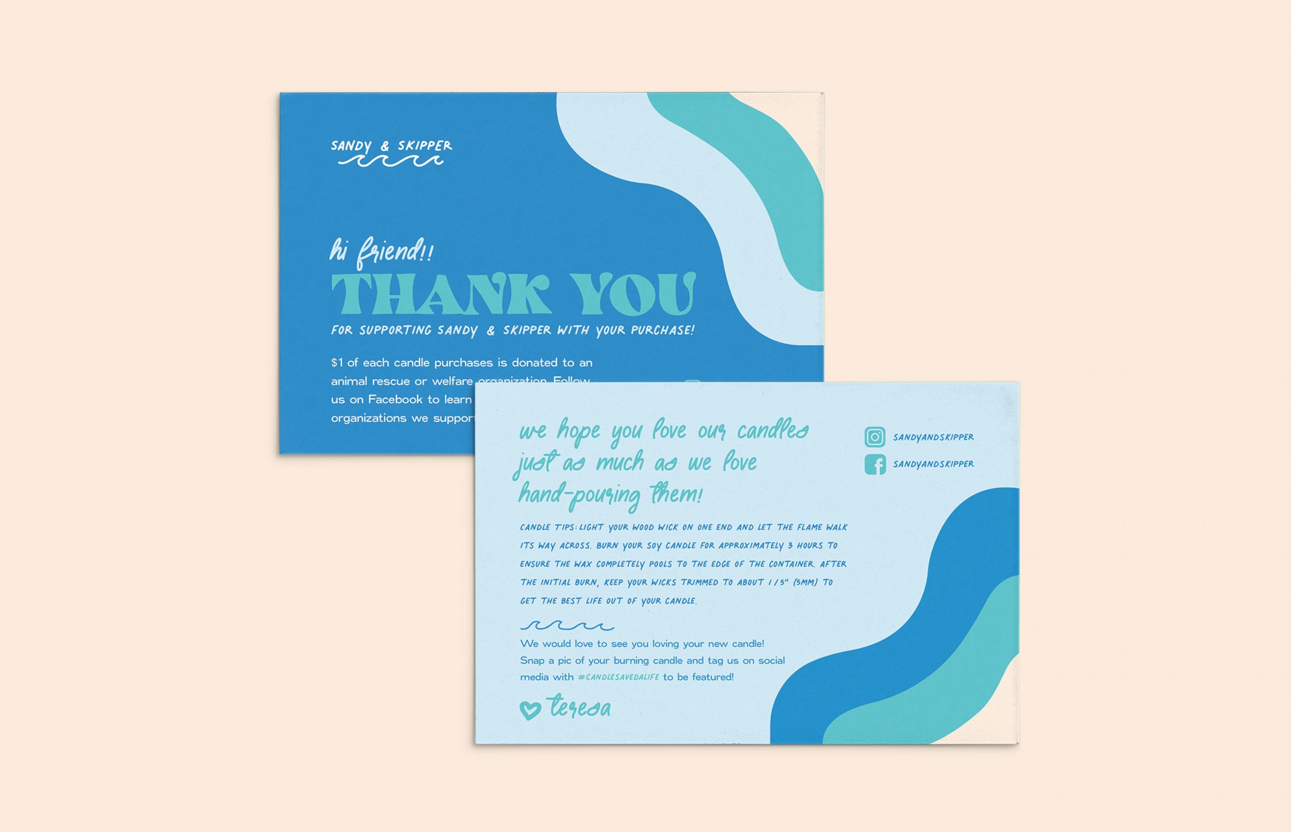 blue wave Sandy and Skipper thank you cards
