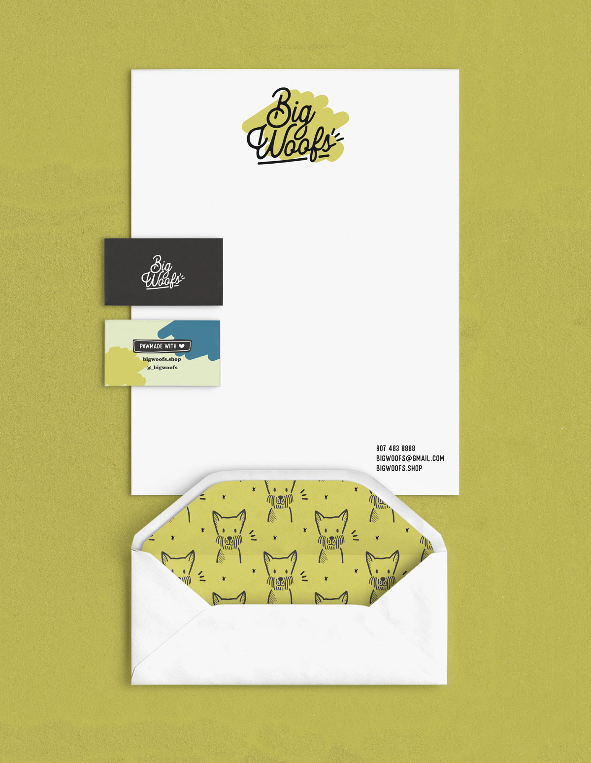 Big Woofs letterhead, business cards, and envelope