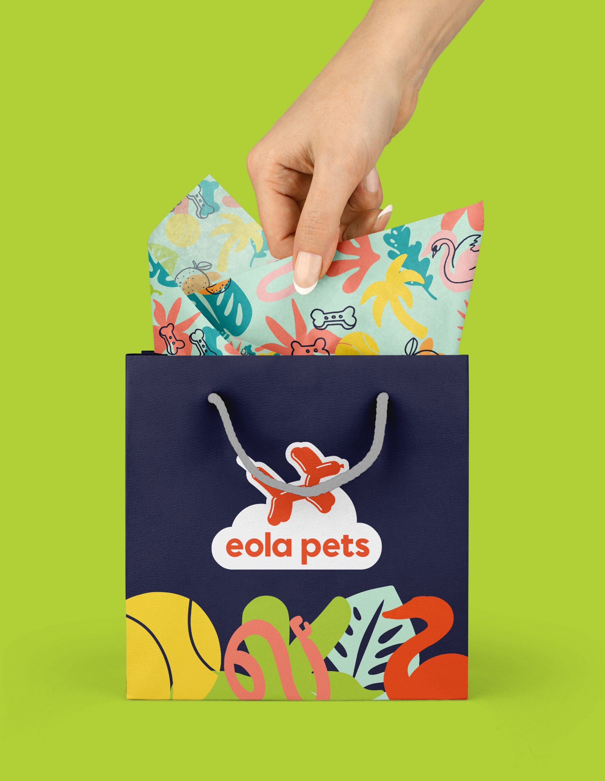 hand pulling pattern paper from an eola pets bag