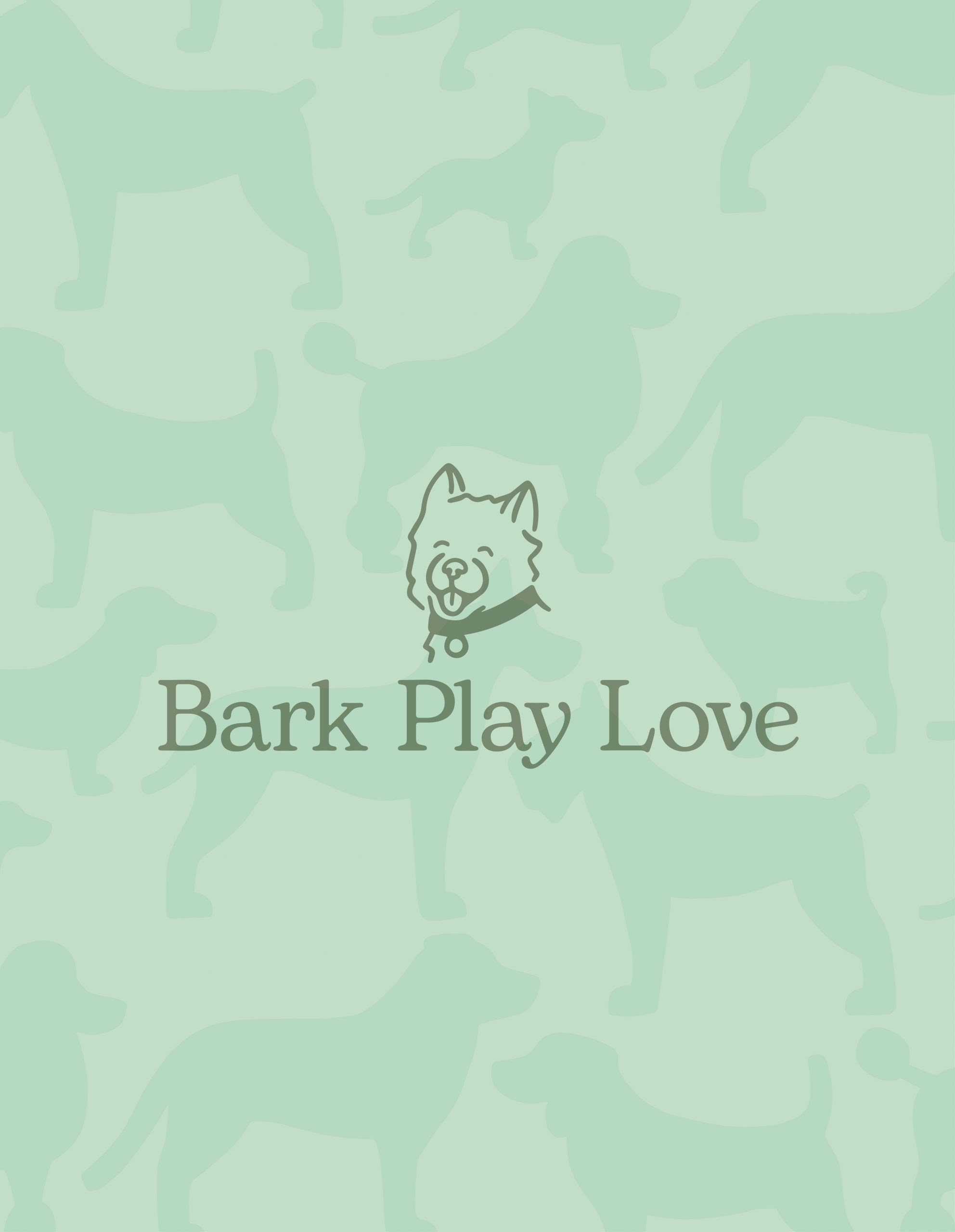 Bark Play Love with dog illustration