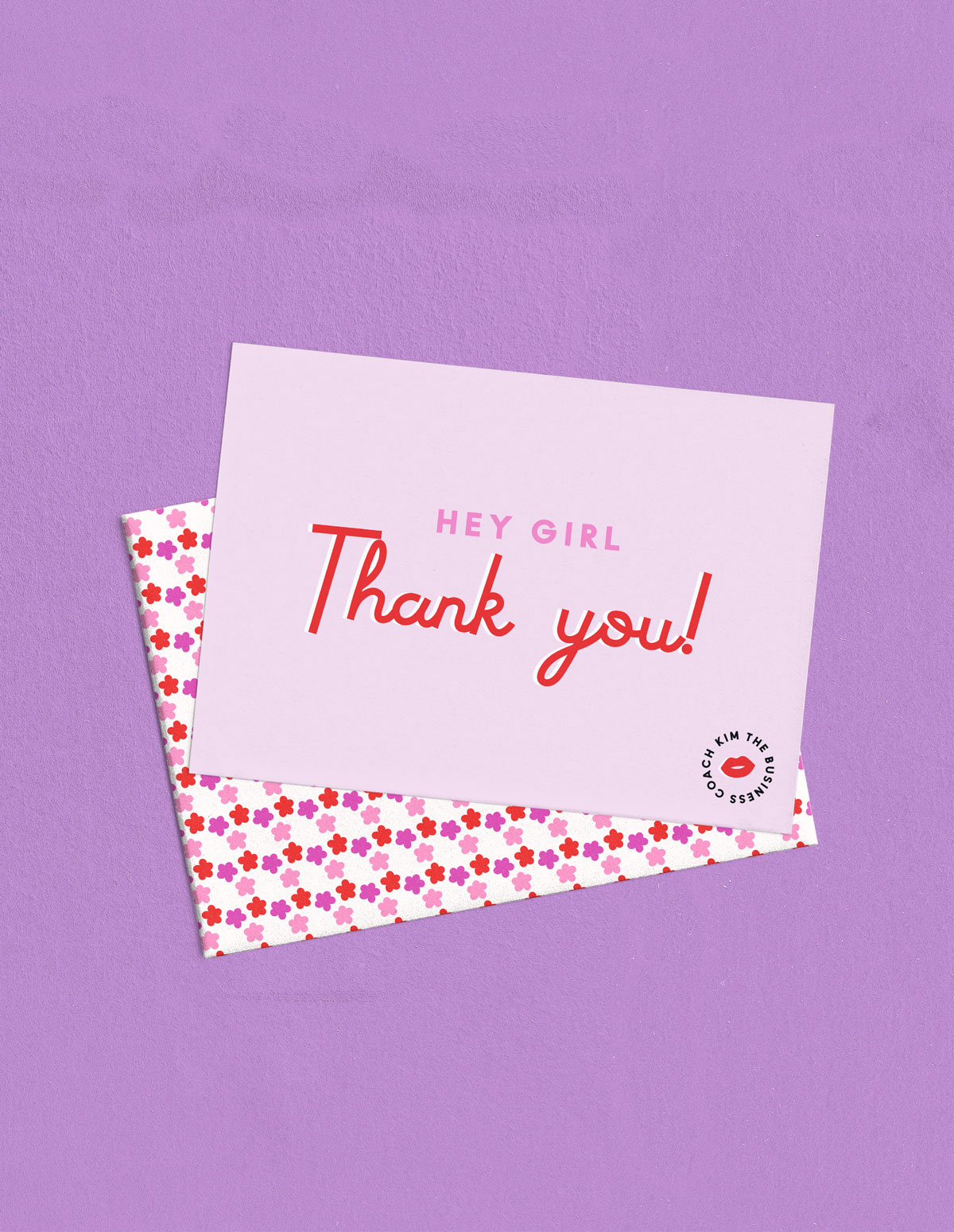 pink and red Hey Girl Thank You card with envelope