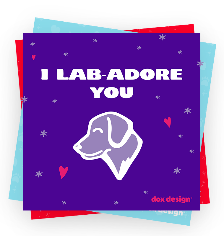I lab adore you title with dog illustration on purple background