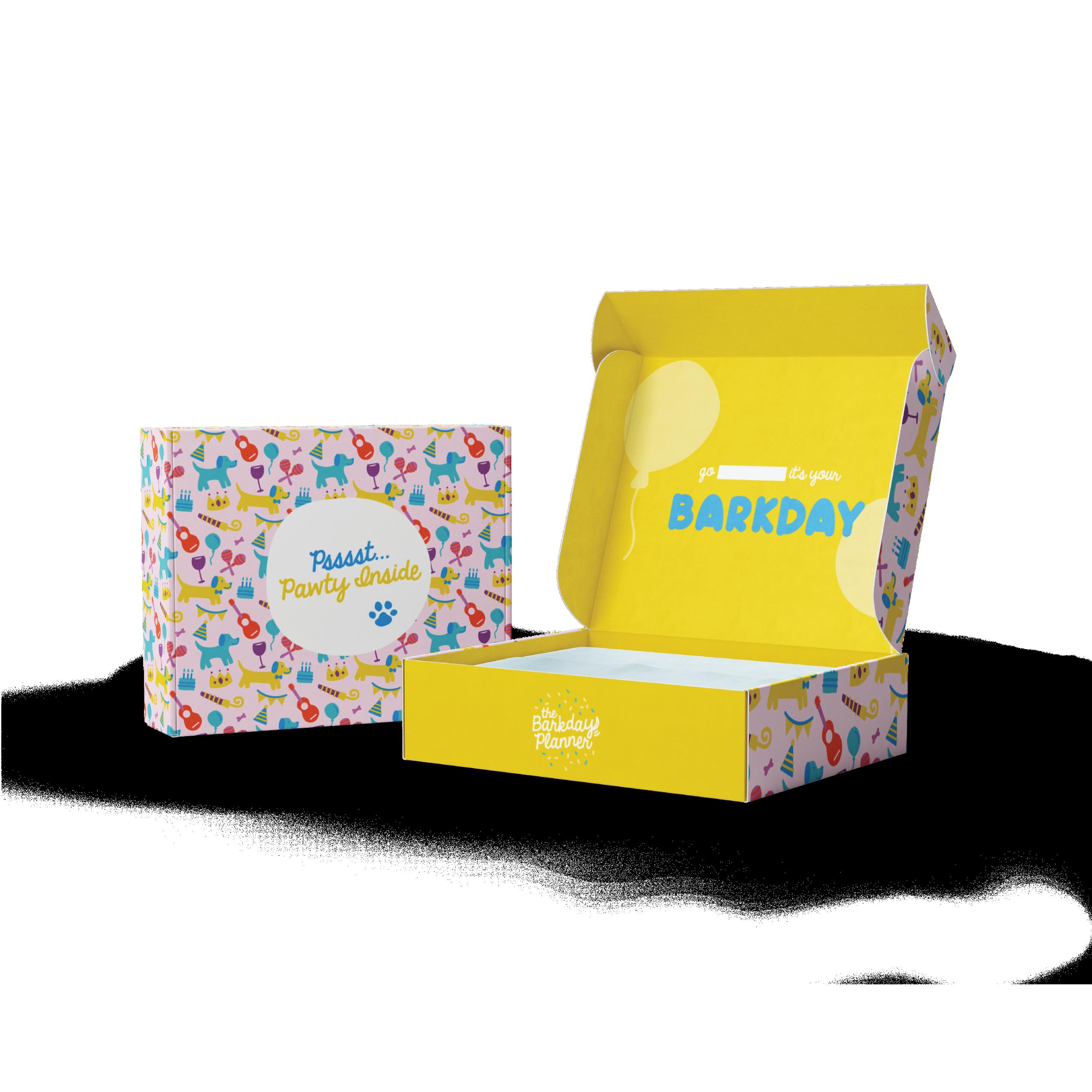 Barkday pattern box and open box showing yellow inside