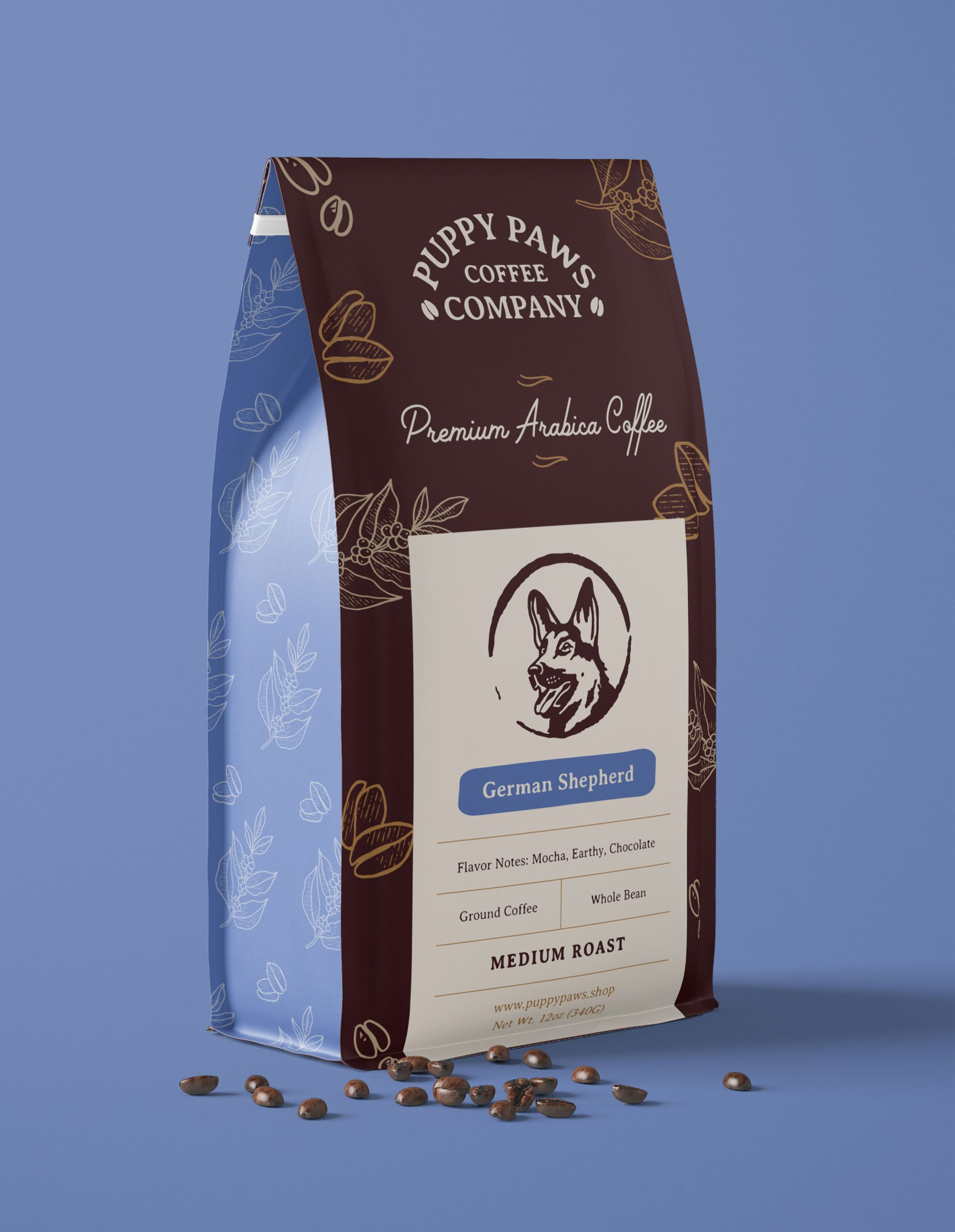 brown coffee bag with dog illustration label for Puppy Paws Coffee Company