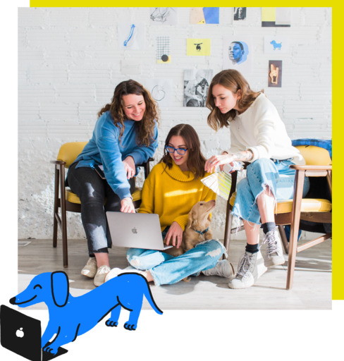 women looking at a laptop