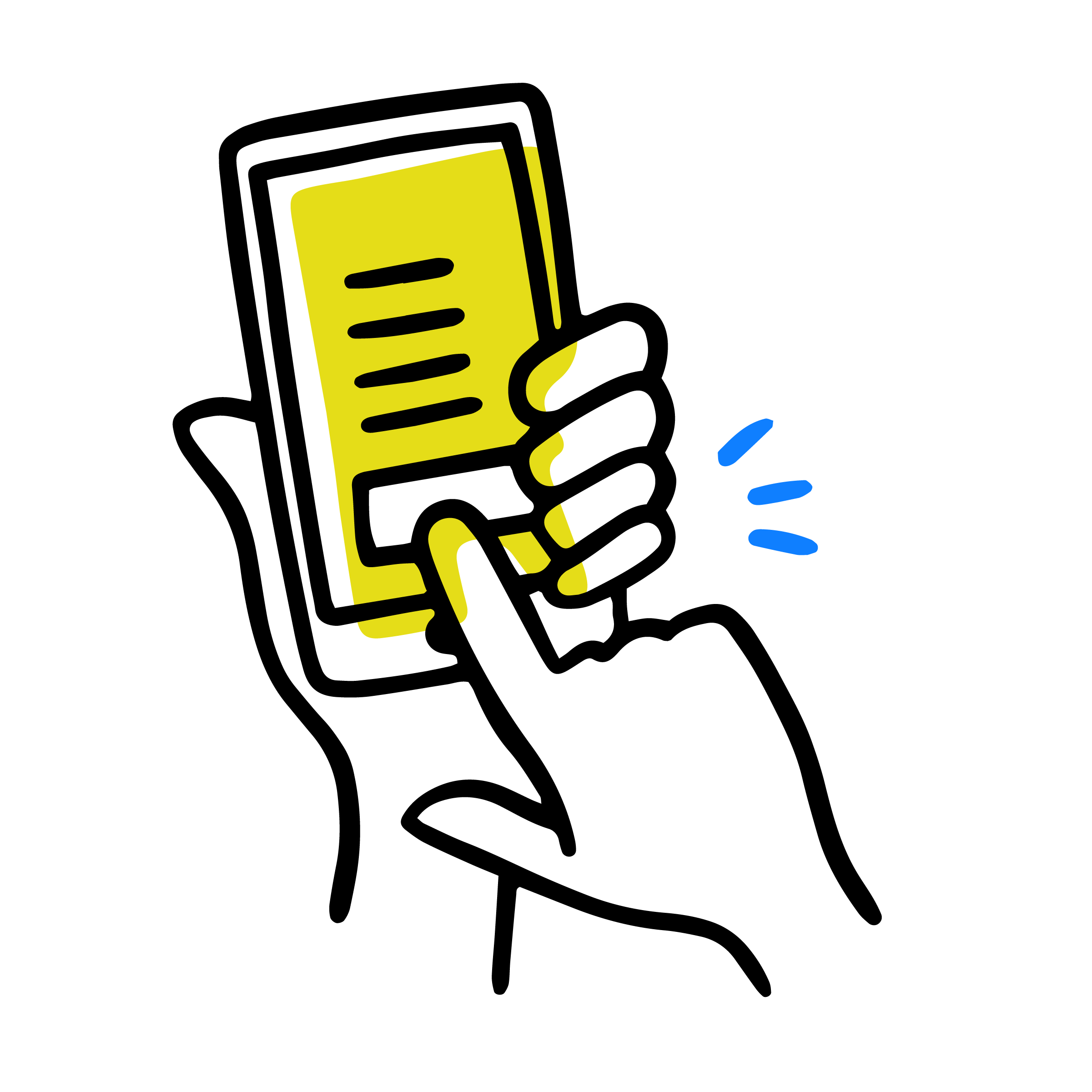 person looking at a yellow computer